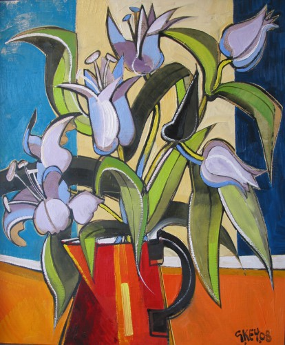 flowers in red jug, oil 2008