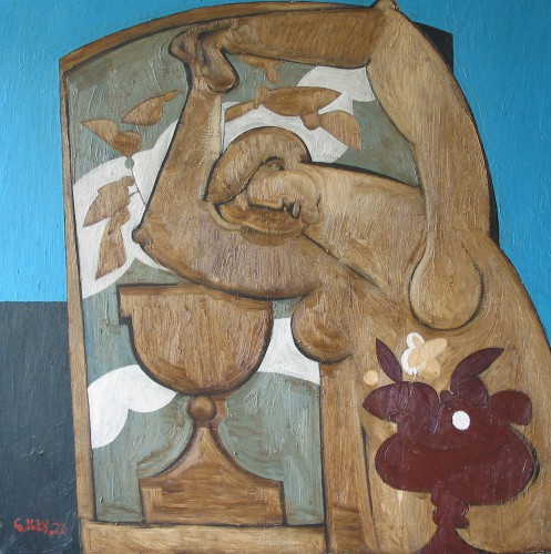 figure with urns, oil 1973