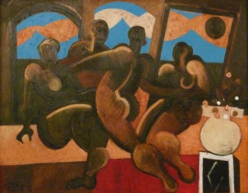 garden figures, oil 1976