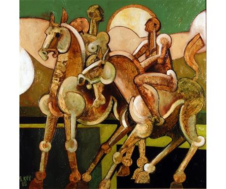 riders with clouds, oil 1985