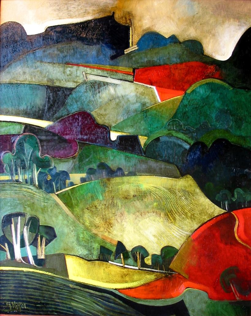 hillside fields, oil 2001