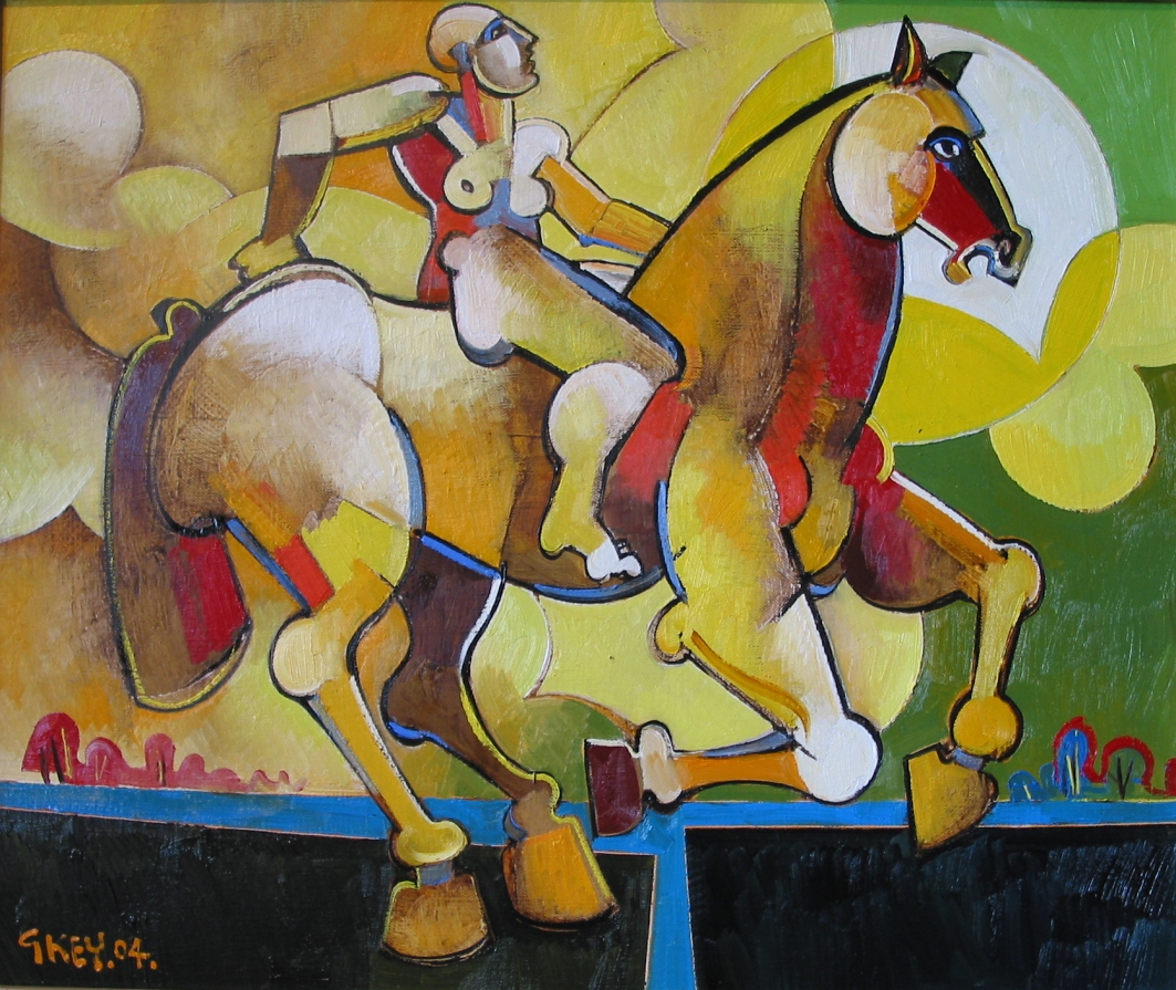 rider in moonscape, oil 2004