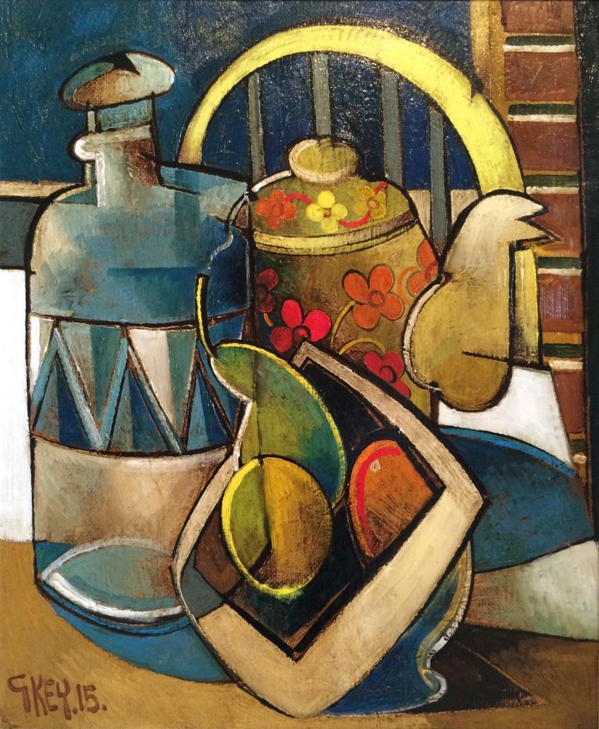 floral teapot, oil 2015