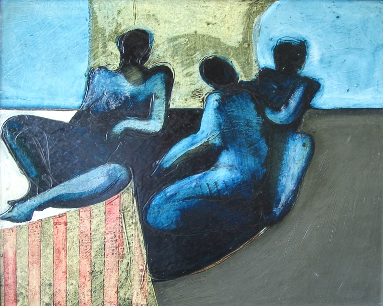 figures in a landscape, oil 1966