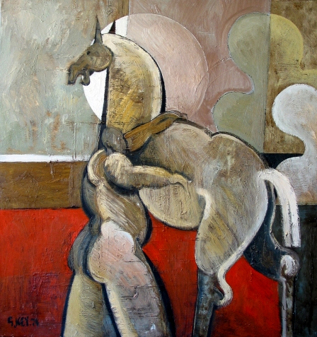 horse and rider, oil 1974