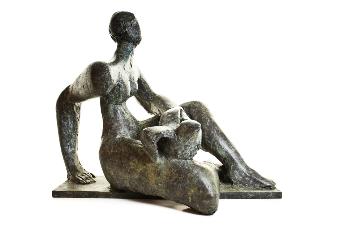 woman with bird, bronze 1978