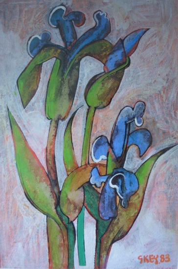 irises, mixed media 1983