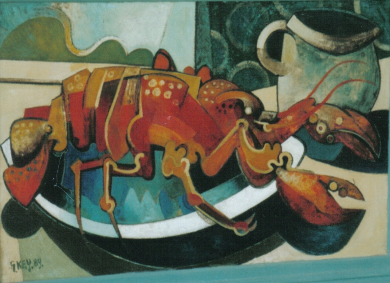 still life with lobster, oil 1989