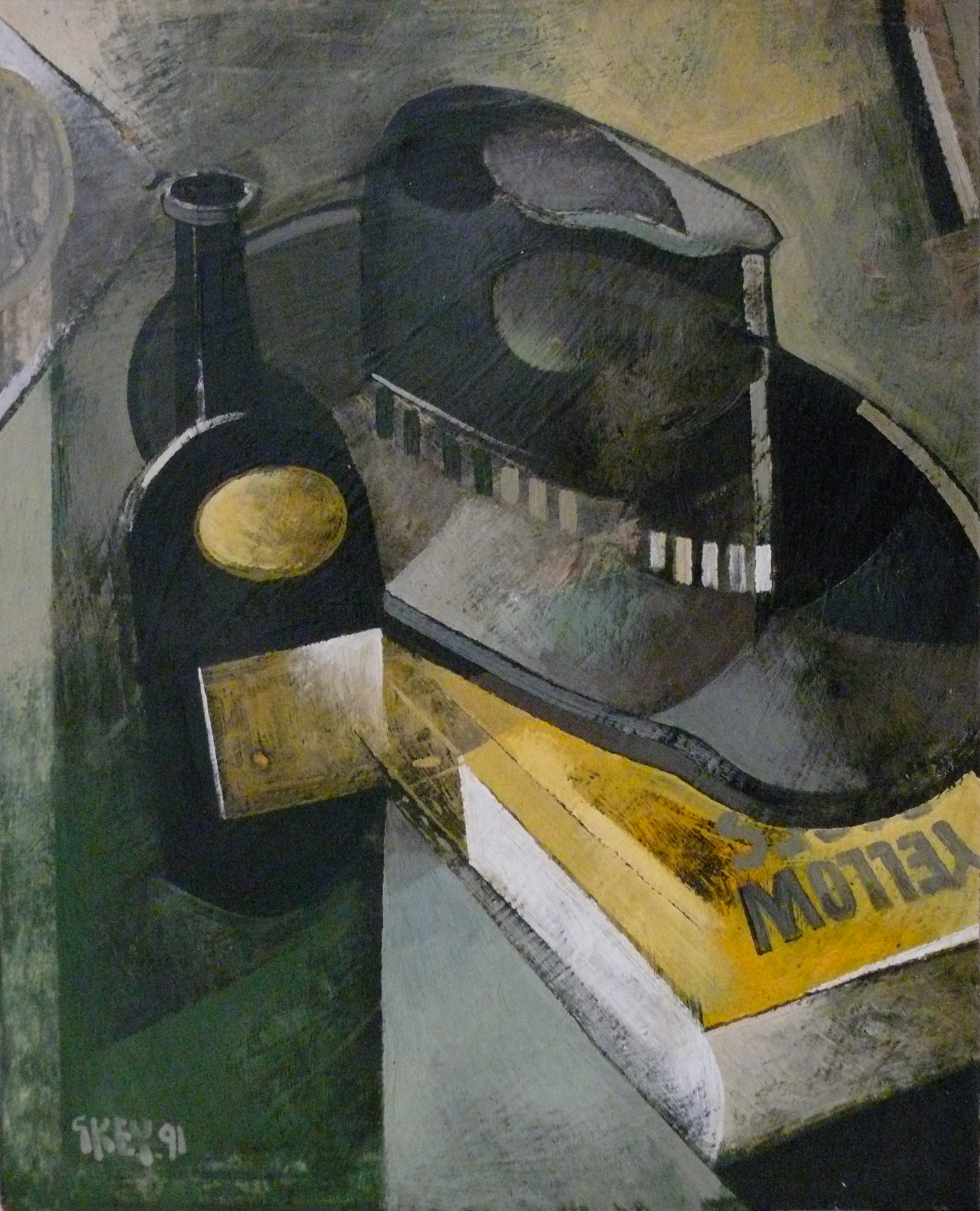 still life with hat, oil 1991