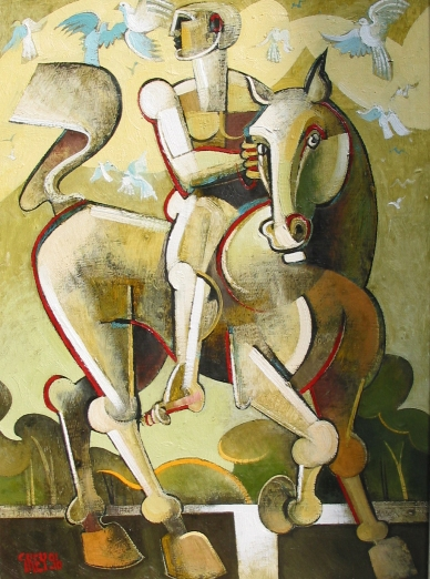 rider with birds, oil 1996