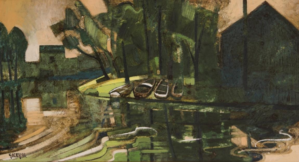 boats Moret sur Loing, oil 1991