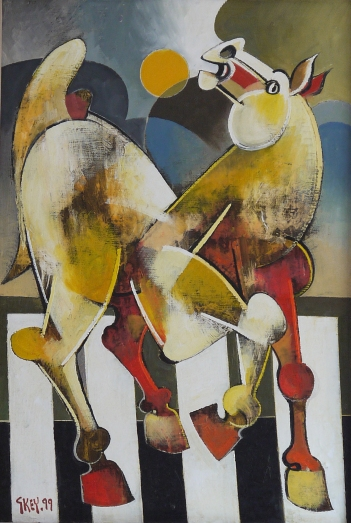 horse with moon, oil 1999