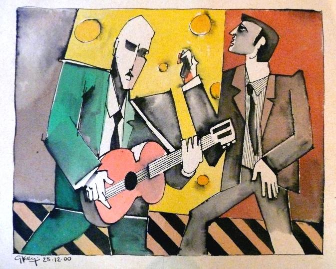 rock duo, mixed media 2000