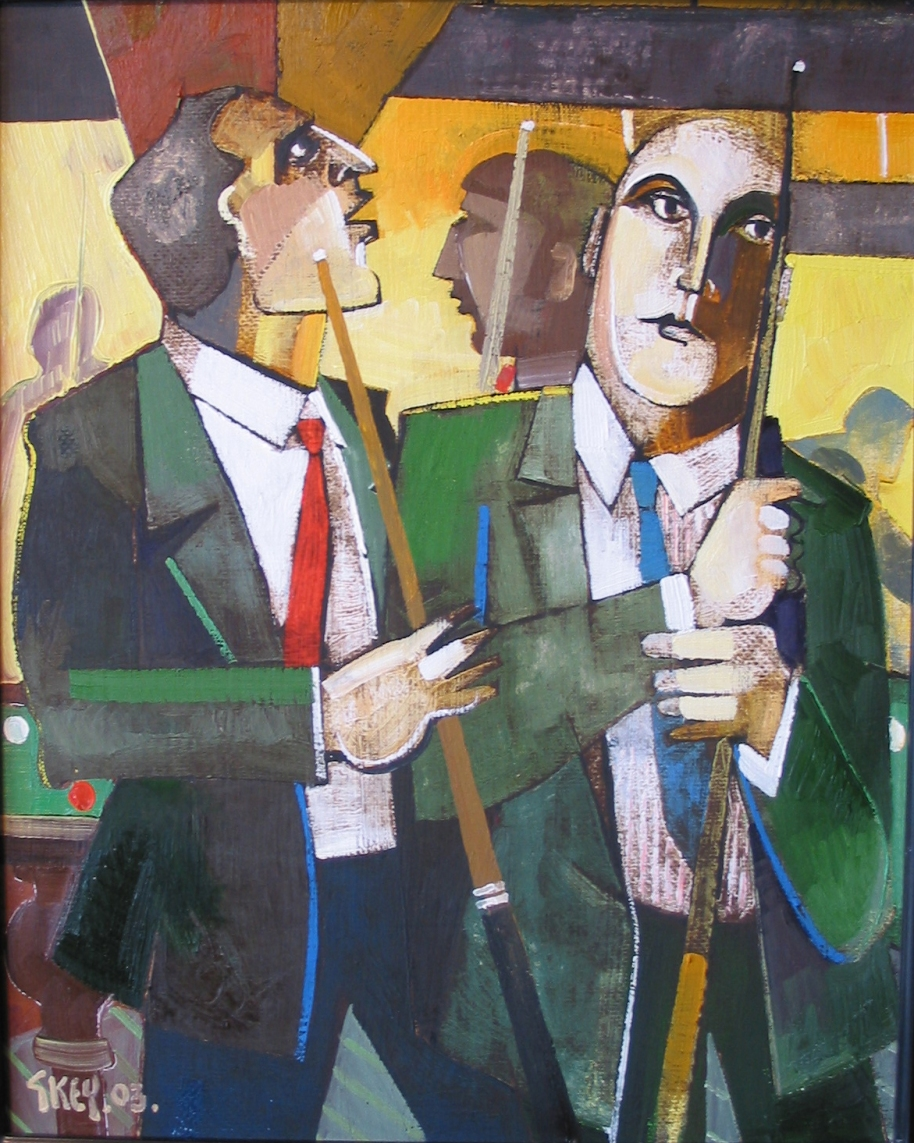 snooker hall, oil 2003