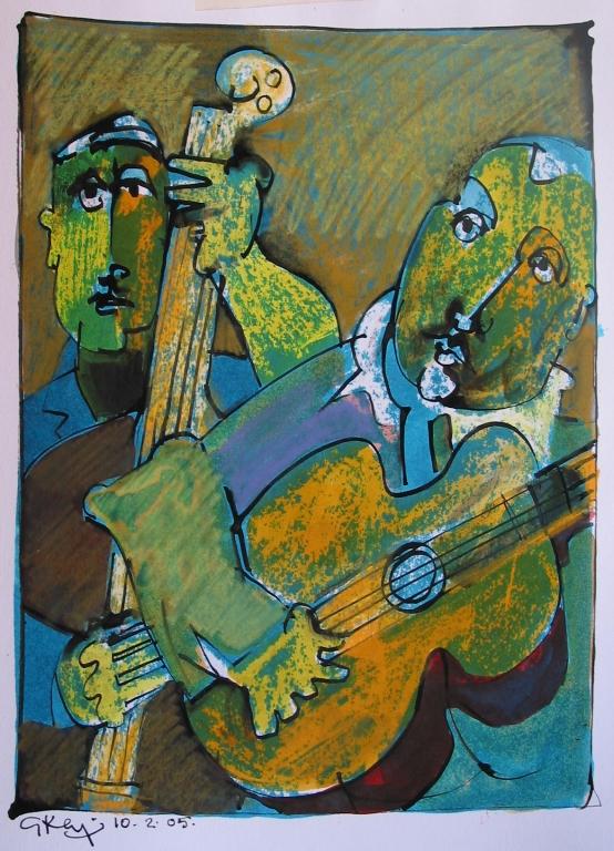 jazz duo, mixed media 2005