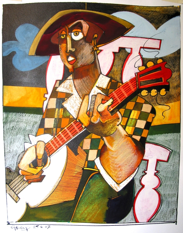 guitarist with chequered shirt, mixed media 2007