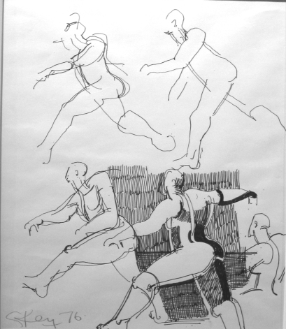 running figure studies, ink 1976