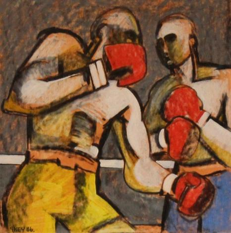 the fight, mixed media 1986