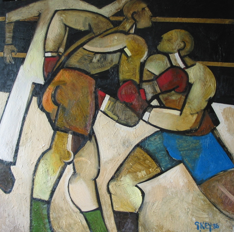 boxing match, oil 1986