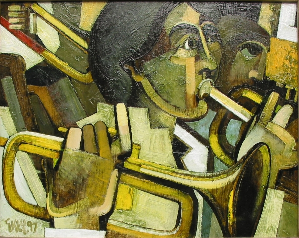 brass players, oil 1997