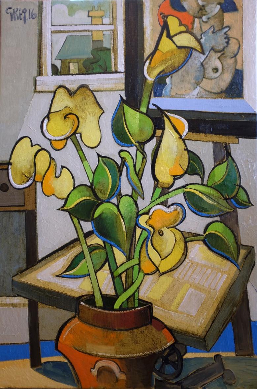 studio lilies, oil 2016