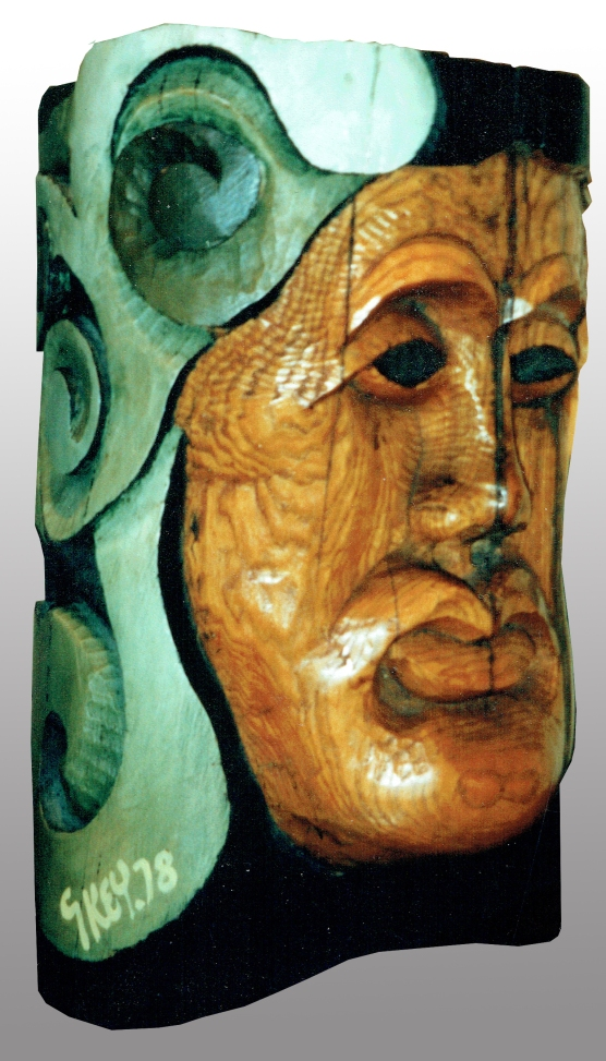 king head, polychrome woodcarving 1978